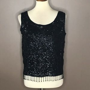 Vintage Imperial Imports Black Beaded Sequined Top